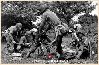 9th Infantry Division Mortar Team near Saint Sauveur Le Vicomte, Normandy, France on June 16th 1944.