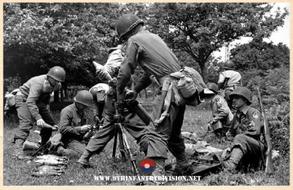 9th Infantry Division Mortar Team near Saint Sauveur Le Vicomte, Normandy, France on June 16th 1944.