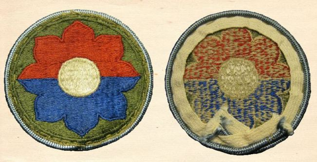 Rare Cut Edge Patch with added blue (Infantry) Piping.