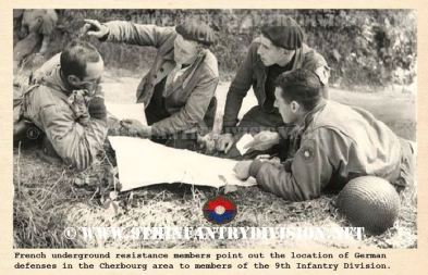 French underground resistance members inform 9th Infantry Division men about German locations near Cherbourg, 1944.
