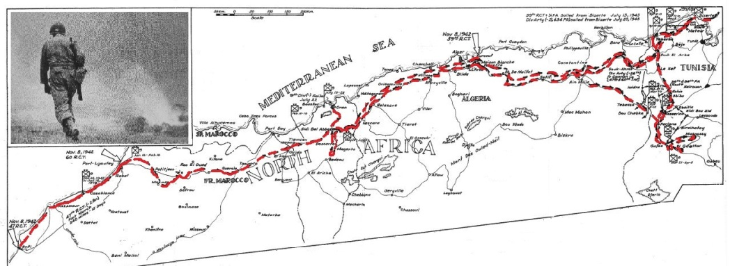 9th Infantry Division Route North Africa and Tunisia