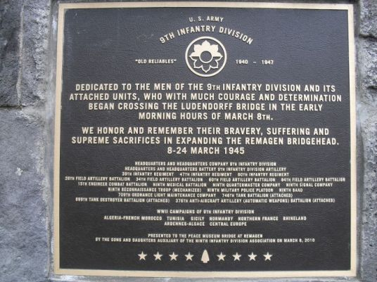 9th Infantry Division plaque Remagen