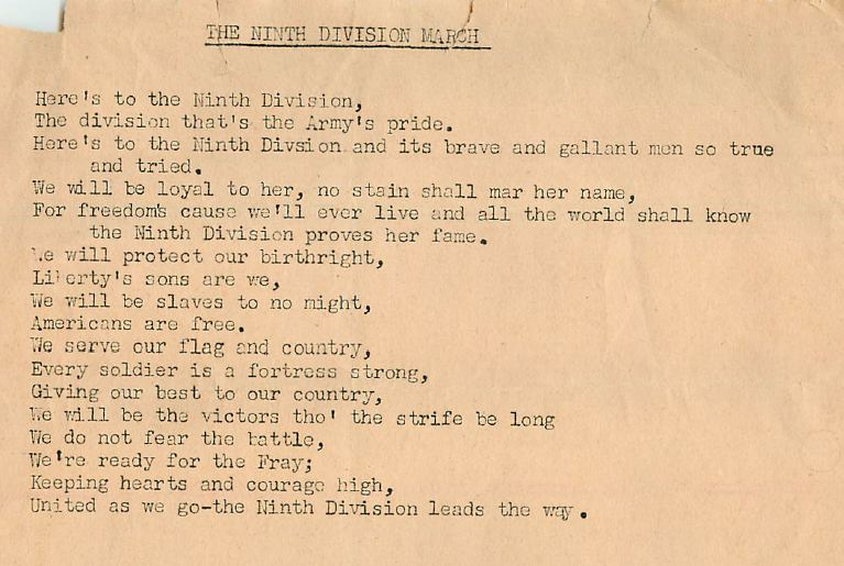 9th Infantry Division March Lyrics
