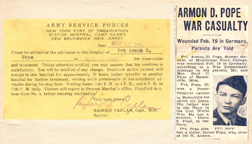 Hospital Admission Card and Newspaper clipping