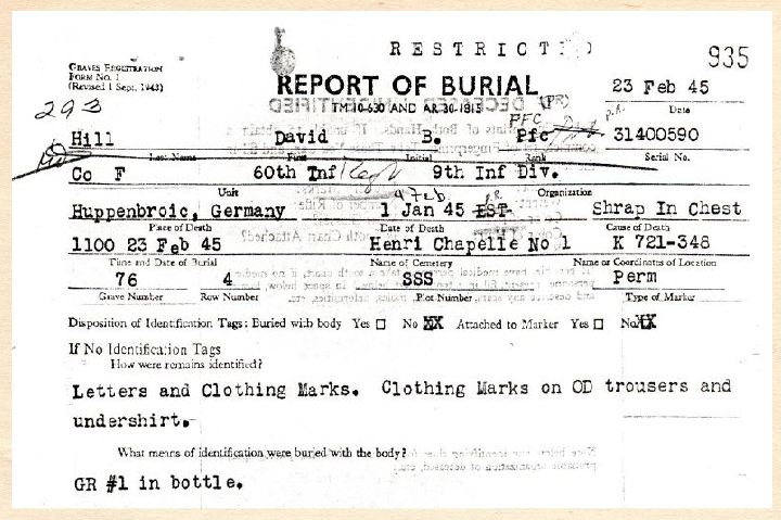 Report of Burial