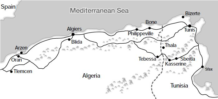 Map of the Kasserine Area in North Africa