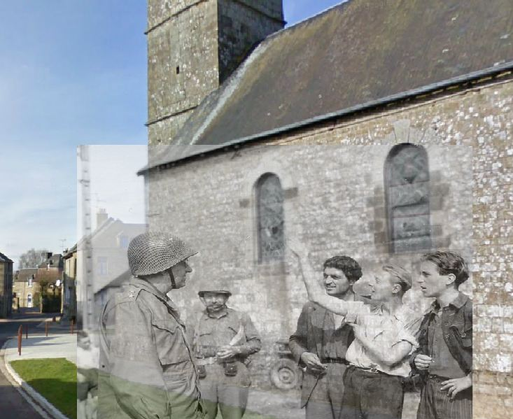General Eddy in front of the Saint Léonard Church - Then and Now.