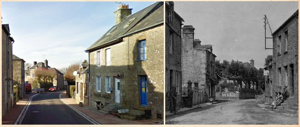 Le Bourg street in Beauvain - Then and Now.