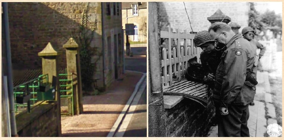 Le Bourg street in Beauvain - Then and Now. Closeup