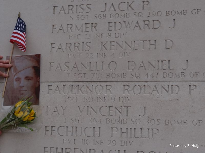 Roland P. Faulknor on the Wall of Missing at the US Cemetery in Margraten, NL
