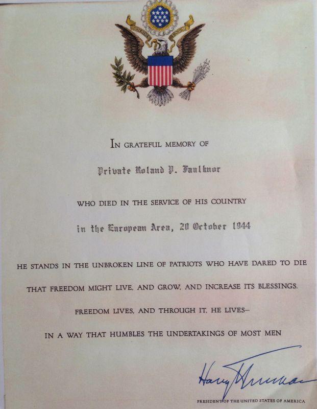 In Memory letter Harry S. Truman