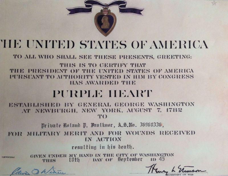 Purple Heart Certificate