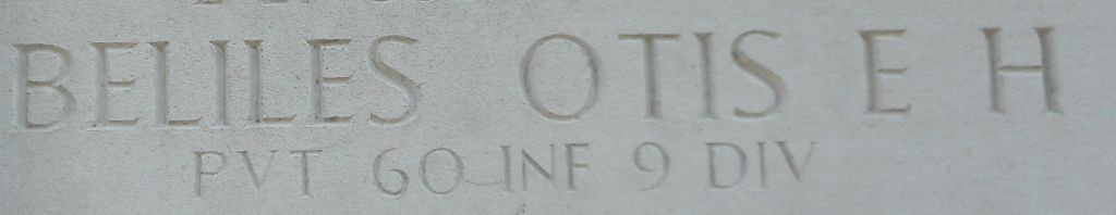 Otis Beliles's name on the Wall of Missing Margraten