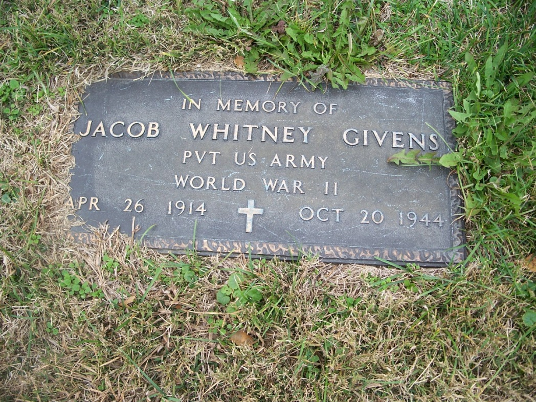 Jacob W. Givens USA memorial grave Kendel Culbertson