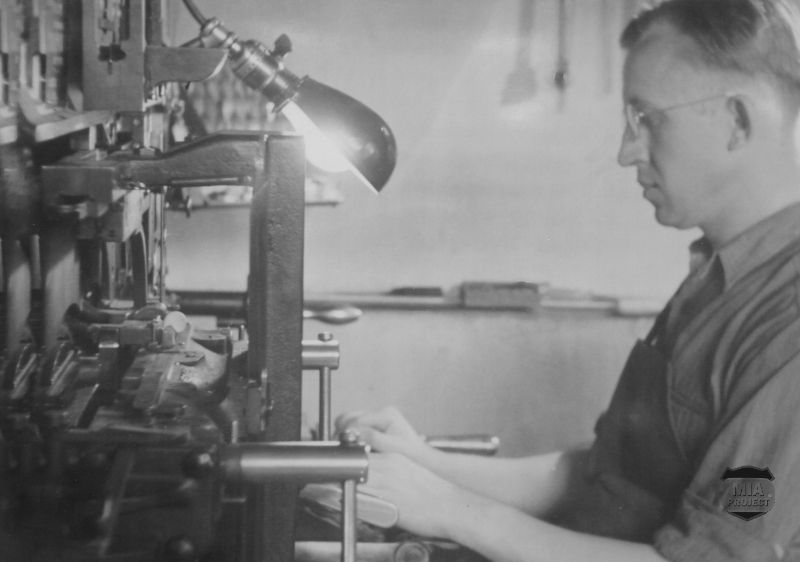 Post war: Edward working in his printing business.
