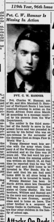 Tuscaloosa News April 22nd, 1943