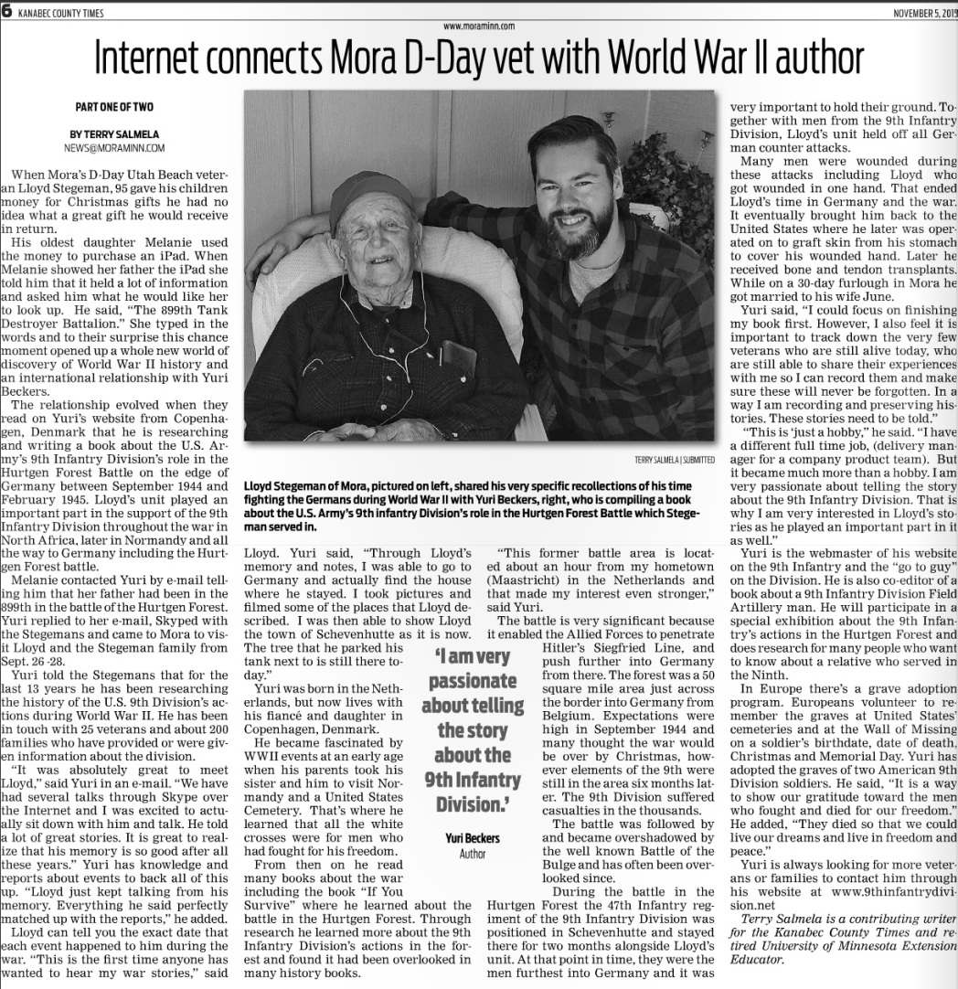 Article Lloyd Stegeman meet Yuri Beckers