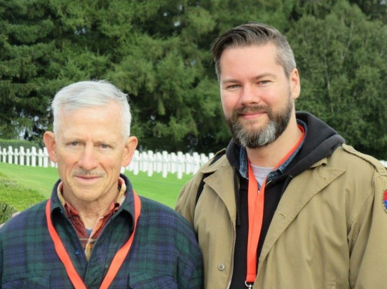 On the left: Harry Stumpf, one of the sons of Lt. Col.  Robery Stumpf, who commanded 3rd Battalion, 39th Infantry Regiment of the 9th Infantry Division. An honor to now call Harry a friend!
