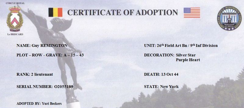 Guy Remington Adoption Certificate Yuri