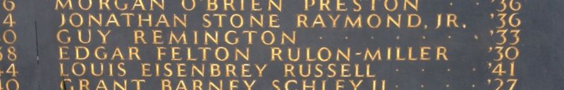 Guy Remington Memorial Plaque closeup
