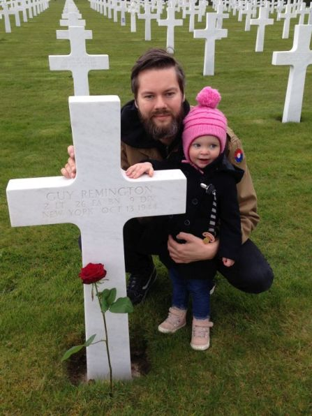My daughter Nora and myself at the grave of 2nd Lt. Guy Remington.