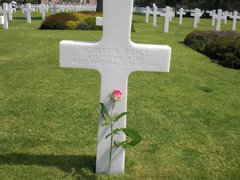 Bobby's grave at the Normandy Cemetery