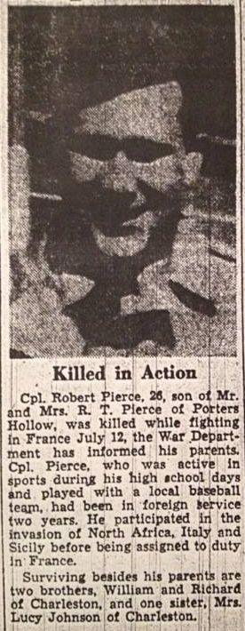 Newspaper clipping Robert Pierce