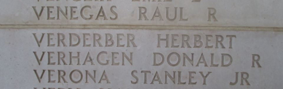Staff Sergeant Herbert Verderber's name on the Wall of Missing.