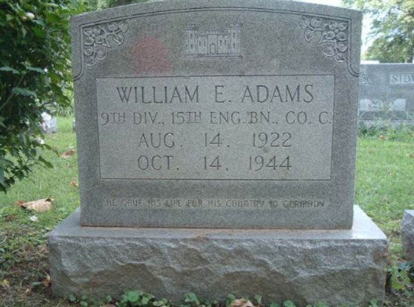 William E. Adams tombstone