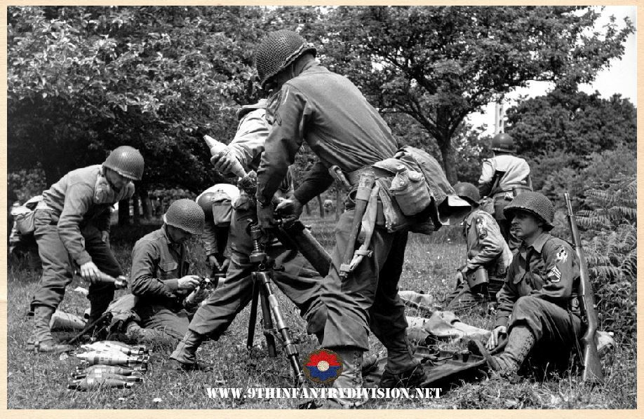 9th Infantry Division Mortar men in action.