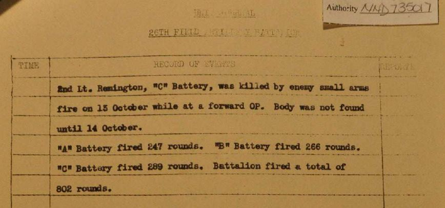 The Field Artillery S-3 Journal mentions his name in the October 14th, 1944 entry.