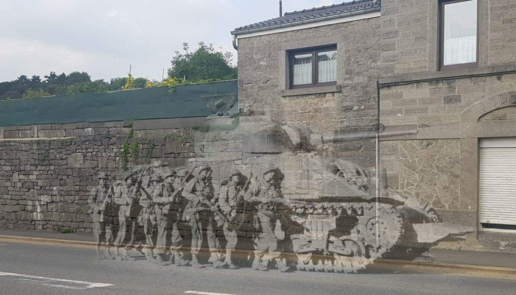 39th Infantry Regiment in Sprimont, Belgium - Then and Now.
