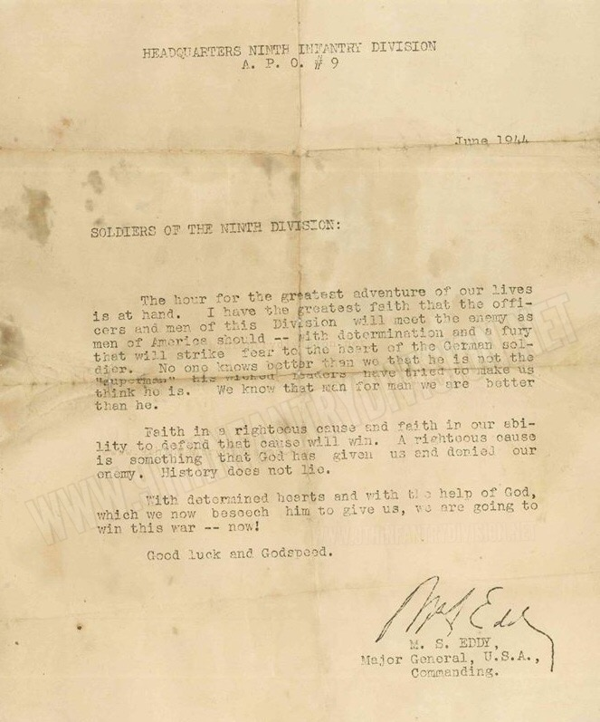 Major General Manton Eddy's letter to the troops, dated June 1944.