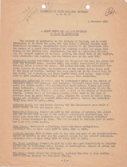 Winchester Tour leaflet of December 3rd 1943 part 1