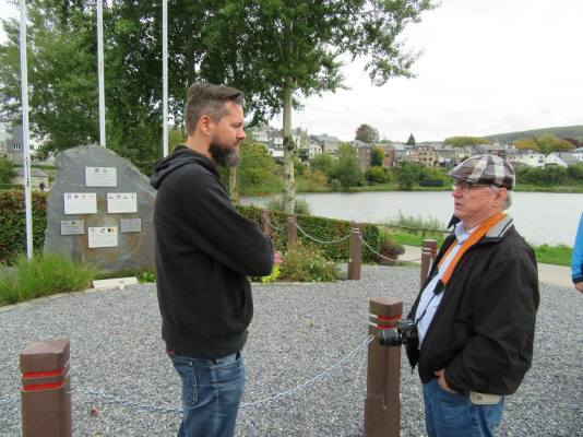 W. Blanchard and Yuri Beckers discussing actions of the 746th Tank Battalion.