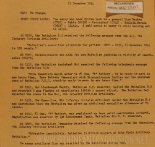 After Action Report 34th Field Artillery Battalion 11 December 1944.