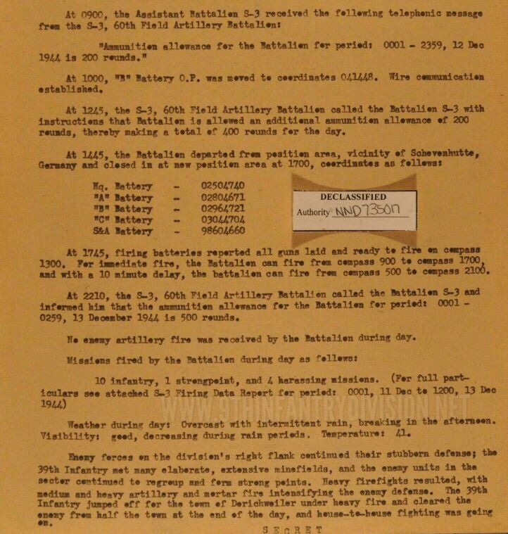 After Action Report 34th Field Artillery Battalion 10 December 1944.