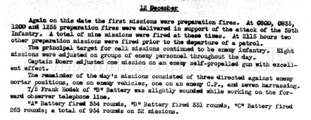 After Action Report 26th Field Artillery Battalion 12 December 1944.