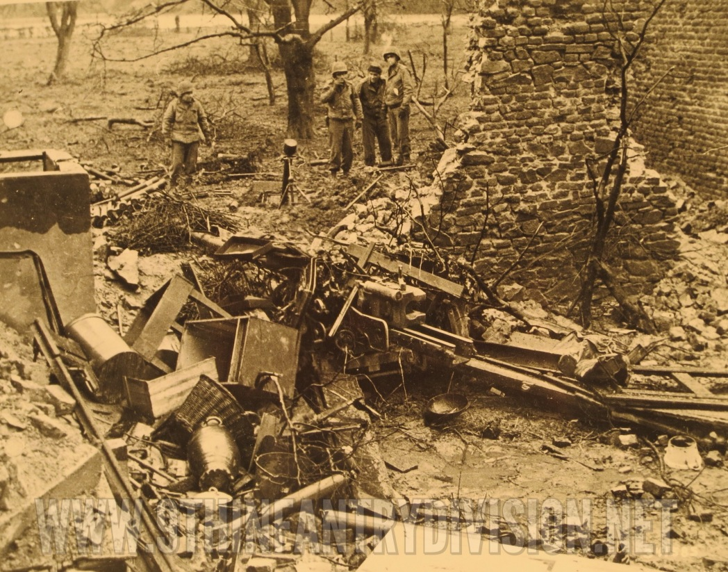 German Gun and mortar at the edge of the village.