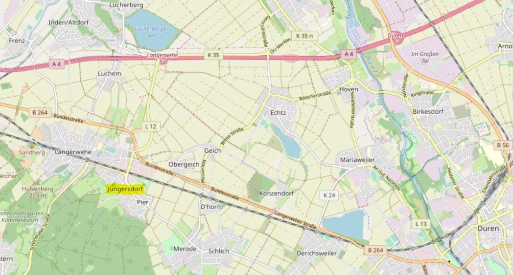 Jungersdorf Map detail