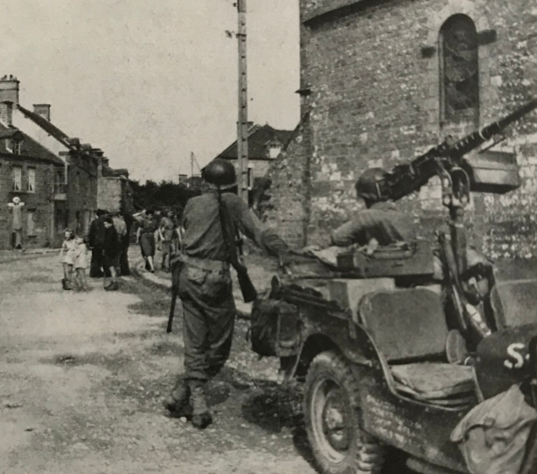9th Infantry Division men in Beauvain, France.
