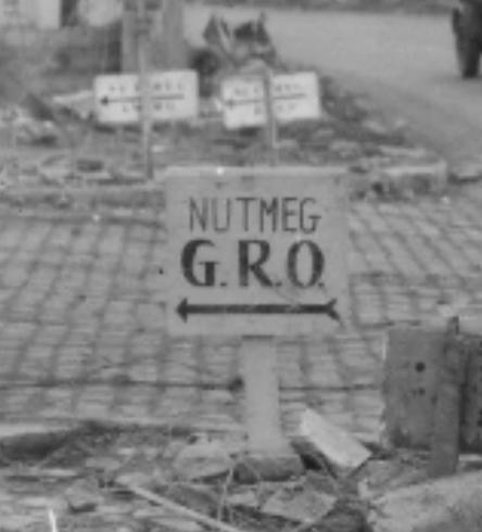 Nutmeg (60th Infantry Regiment) sign in Langerwehe, Germany.