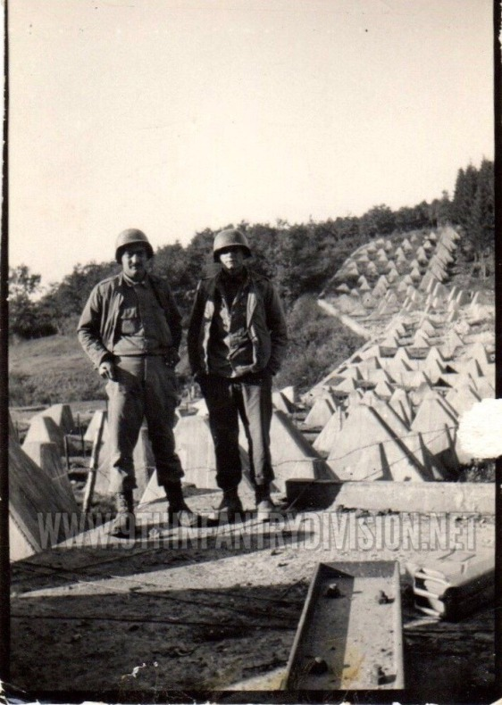 Two buddies of Camille at the Dragon Teeth of the Siegfried Line near Roetgen, Germany in September 1944.