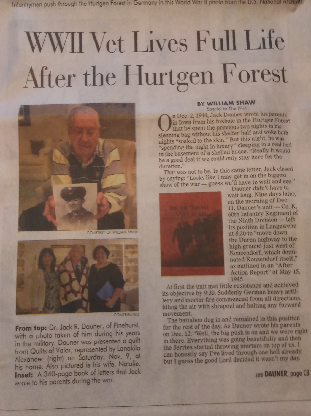 Jack Dauner Newspaper Article Page 1
