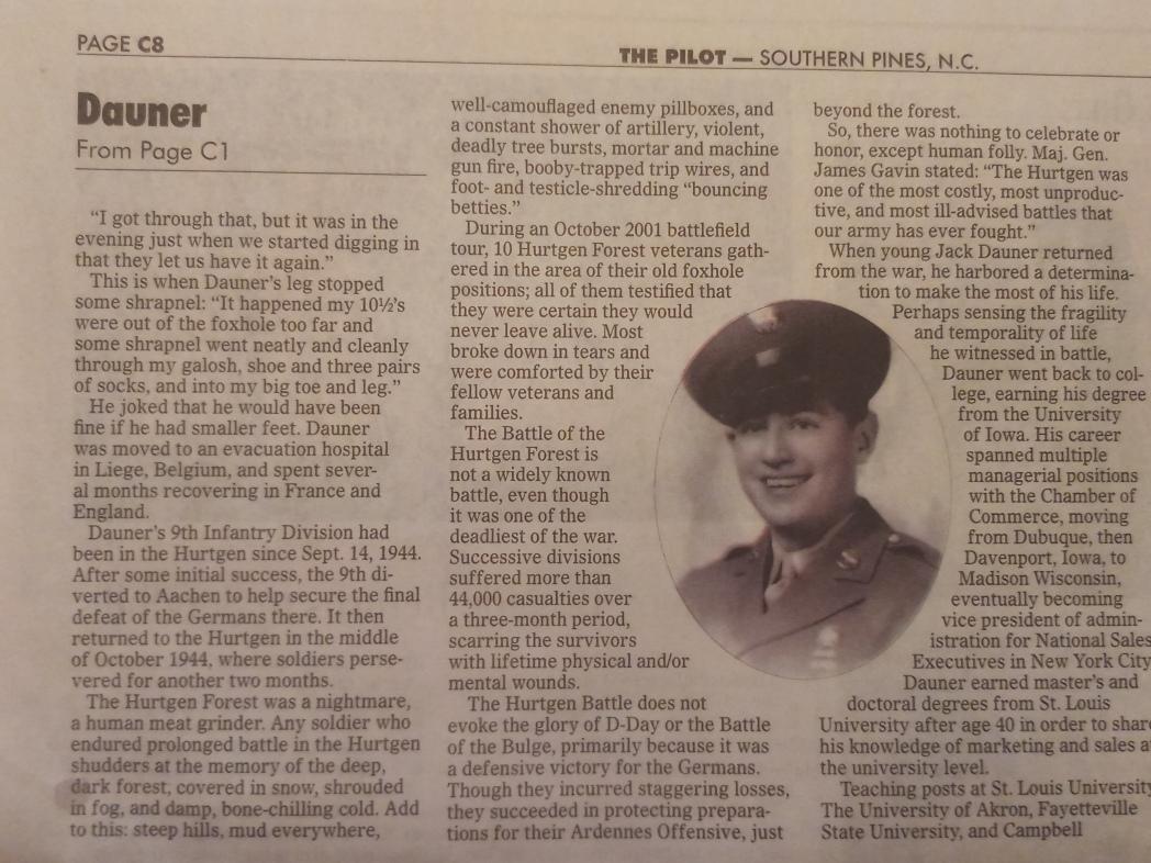 Jack Dauner Newspaper Article Page 2