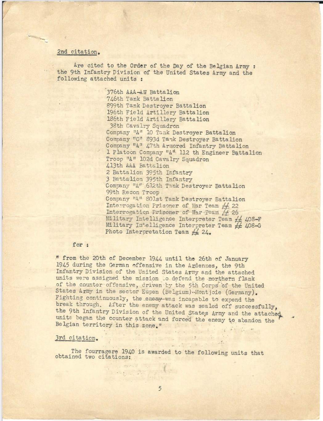 Belgian Fourragère WWII document handed out to Lt. Colonel Robert H. Stumpf,