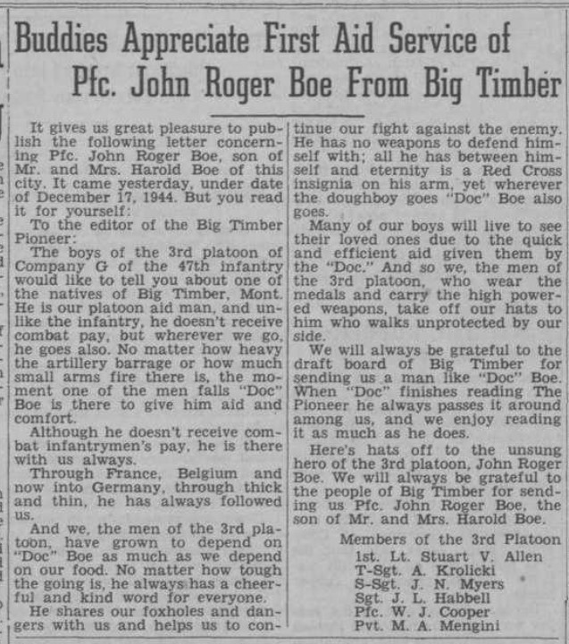 Big Timber Pioneer Newspaper Article