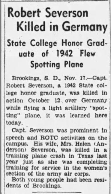 Newspaper article Robert Severson
