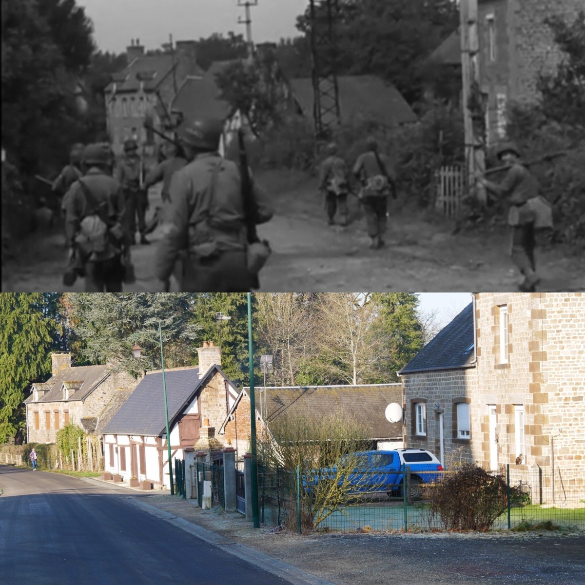 5. Men walking in a western direction on the Rue des Écoliers towards Lonlay-le-Tesson.
