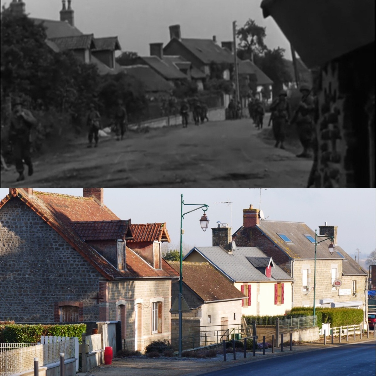 . GIs start walking back on Rue de Commerce towards the junction at the church in order to move towards Lonlay-le-Tesson.